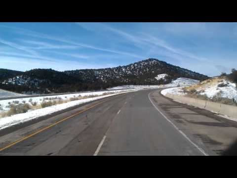 Interstate 70 West driving through the Fishlake National Forest in Utah