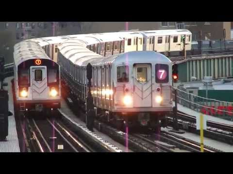 Flushing - Main Street Bound Local & Express Train Of R188s & R62As On The 7 @ 52nd Street
