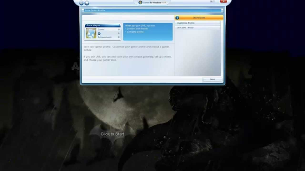 How to create offline profile in games for windows live (gfwl.