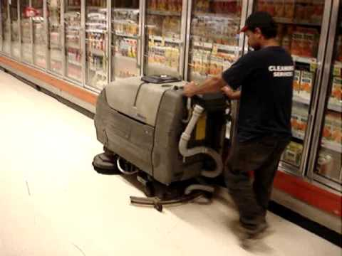 Supermarket Cleaning -- Jean cleaning the floors -- work executed by BostonJanitorialServices.com