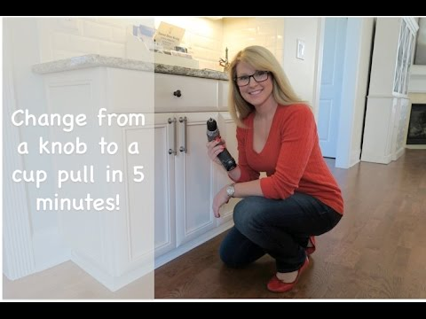 How to Install Cabinet Hardware Cup Pulls in 5 Minutes - YouTube