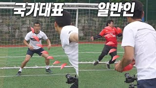 National football player vs Non-athletes, Reflex competition! (Did He Dodge This???)