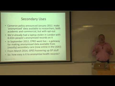 Prof. Ross Anderson - Safety and privacy health systems in the age of biodata - Technion lecture