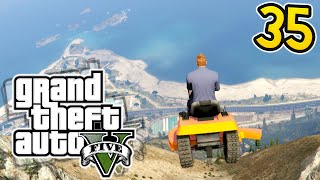 DEADLY LAWNMOWER MOUTAIN JUMP!  Olli43 vs Geo23 - Episode 35 (GTA 5 Funny Moments)