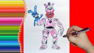 How to draw Twisted Funtime Freddy, FNaF, Как нарисовать Твистед Фантайм Фредди, ФНаФ