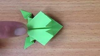 Оригами лягушка(Оригами из бумаги для начинающих. Делаем из обычного листа бумаги квадратный и затем изгибая и складывая-..., 2015-10-30T18:53:01.000Z)