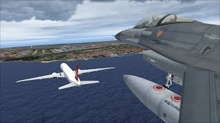 fsx-boeing-777-turkish-airlines-chased-by-3-f16-39-s,-escort-national-football-team-to-airport-hd