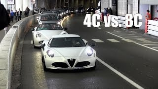 alfa romeo 4c vs 8c spider in monaco