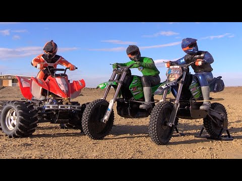 RC CWR Dirt racing with the Cx3 X-Rider and E-Maxx quad