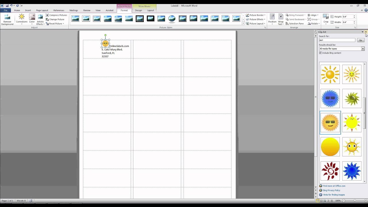 How To Add Images And Text To Label Templates In Microsoft Word - Sticker layout template