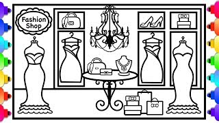 How to Draw and Color a Fashion Shop  👚✨💜 Wardrobe Coloring Page for Kids 💜 How to Draw a Dress