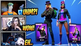 STREAMERS REACT *NEW* STAGE SLAYER & SYNTH STAR SKINS + HOT RIDE GLIDER! - Fortnite Moments