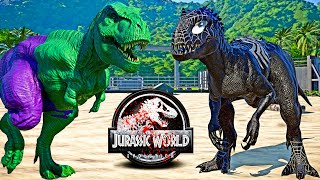 HULK Tyrannosaurus Rex vs VENOM Indominus Rex, SHARKZILLA Dinosaurs Fight 🌍 JURASSIC WORLD EVOLUTION