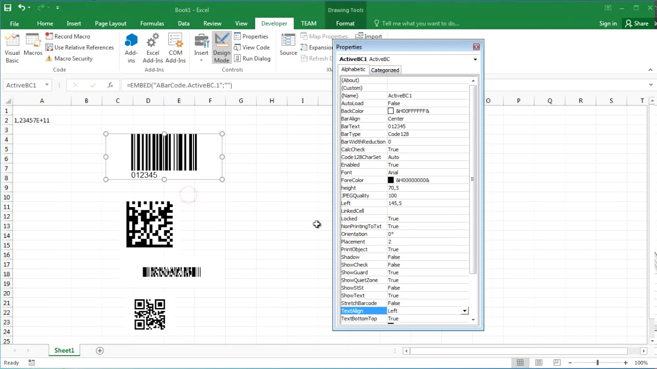 How to create Barcode in Excel 2016