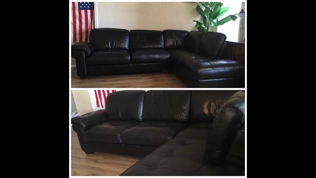 GEUINE LEATHER BLACK TUFTED 9X2 X 6 9 SECTIONAL