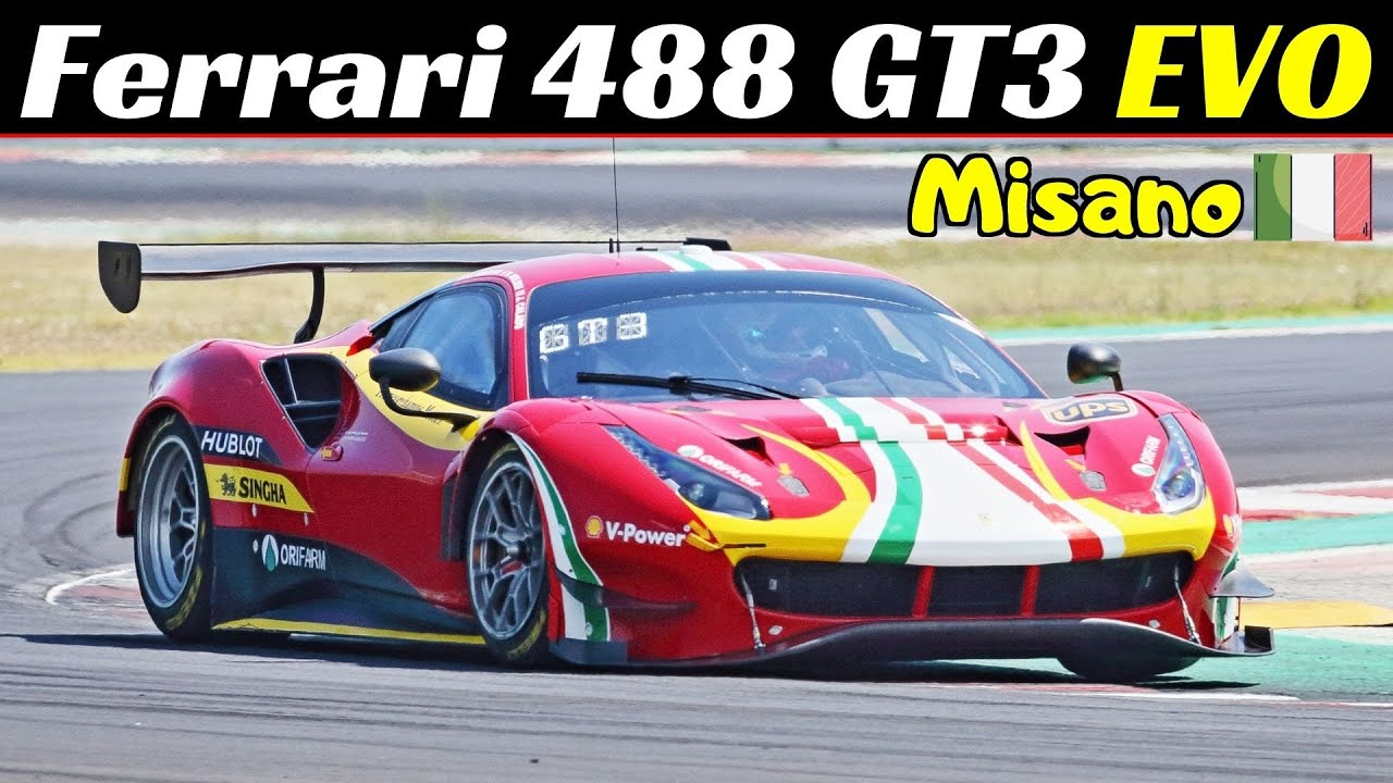 Ferrari 488 GT3 EVO - 600Hp V8 Twin-Turbo Engine Sound - Kateyama Track Tests at Misano Circuit