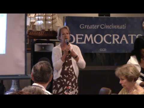 Alicia Reese addresses the Greater Cincinnati Democrats
