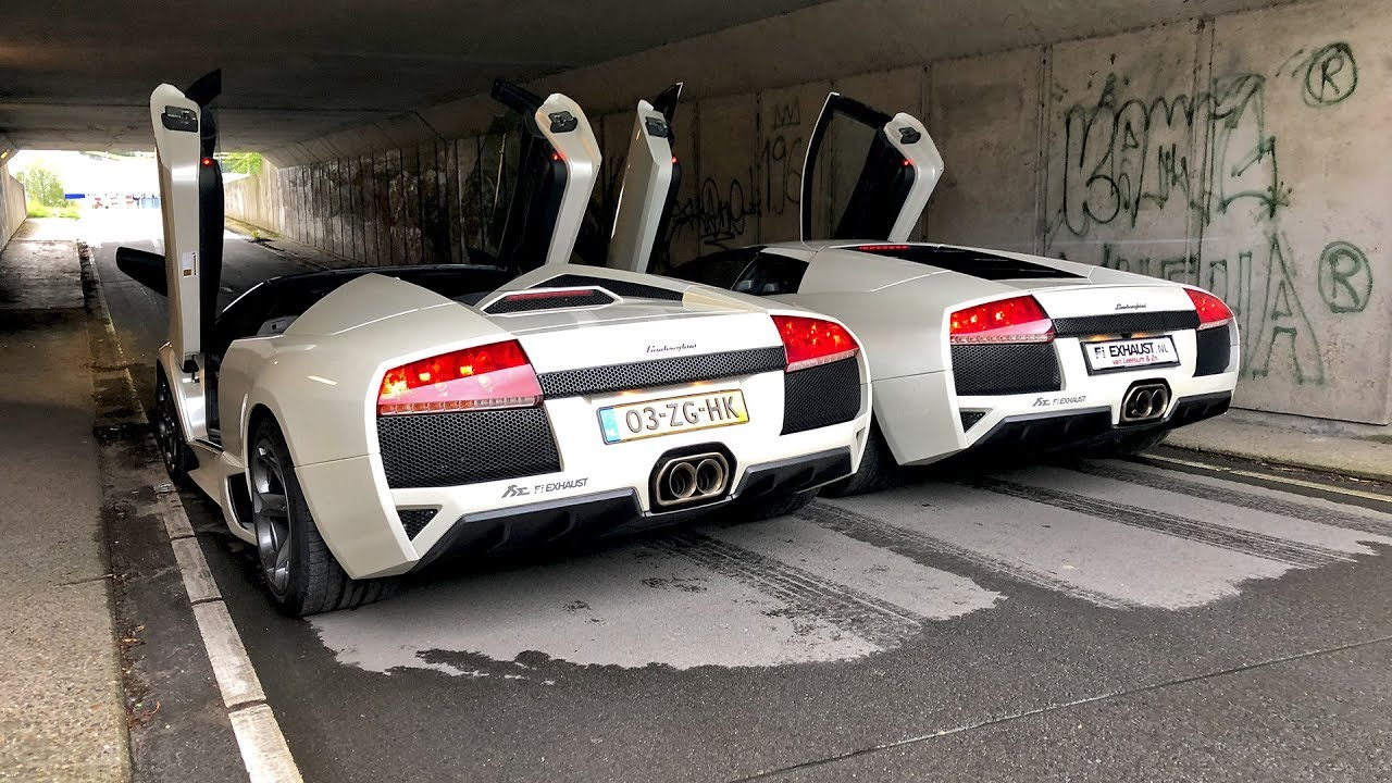 2x Lamborghini Murcielago Lp640 V12 With Straight Pipes Fi Exhaust