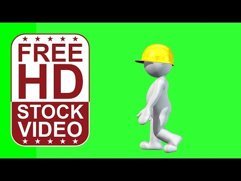 FREE HD video backgrounds – animated cartoon character wearing hard hat walking on green screen