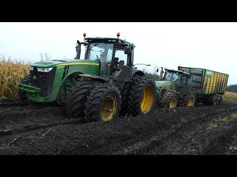 John Deere 8530 Working Hard In The Mud During Maize / Corn Chopping   JD 8370R   Häckseln 2017