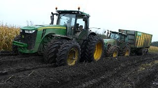 John Deere 8530 Working Hard in The Mud During Maize / Corn Chopping | JD 8370R | Häckseln 2017