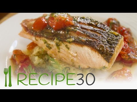SALMON recipe with crispy skin and fresh tomato dill sauce on crushed potatoes by recipe30.com