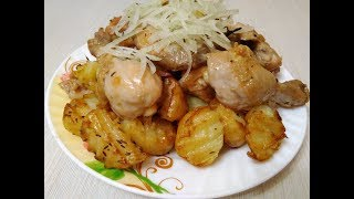 Жареная картошка с курицей Супер рецепт Как вкусно пожарить картошку с курицей