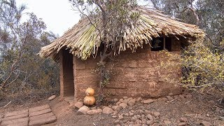 Adobe Hut With Thatched Roof