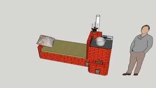 Rocket stove/ Печь-ракета с лежанкой и плитой. Своими руками, чертеж прилагается.