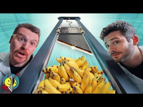 Real Guillotine vs. 100 Bananas & Other Fruits!