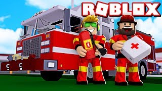 BEING A FIREFIGHTER AND DRIVING FIRETRUCK in ROBLOX JAILBREAK