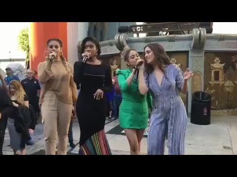 Fifth Harmony performing Don't Say You Love Me on Hollywood Boulevard