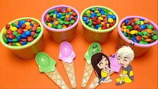 M&M Ice Cream Cups Hide & Seek Surprise Toys Game