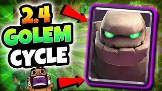 FASTEST 2.4 GOLEM CYCLE DECK EVER!! INSANE CYCLE DECK! | Clash Royale FAST & FUN GOLEM DECK!