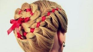 Прическа: плетение косы из 4 прядей с лентой.  4 Strand Braid