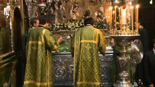 Предстоятель Русской Церкви совершил малую вечерню с акафистом преподобному Сергию Радонежскому в Тр