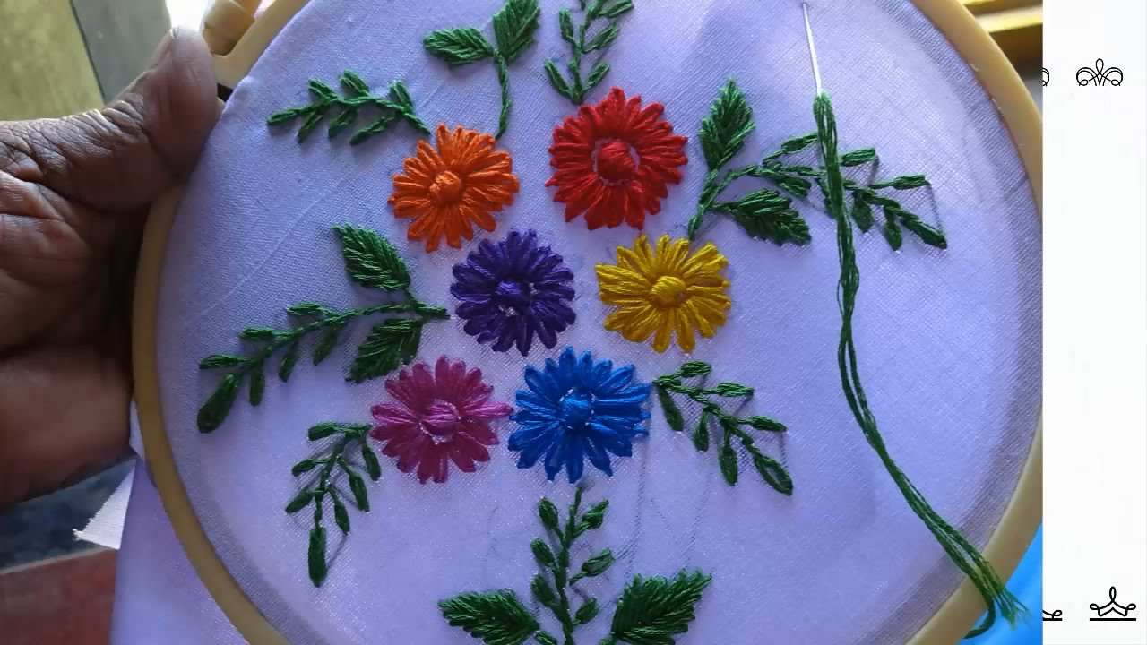 Hand embroidery lazy daisy stitch flower design by amma