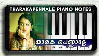 Tharaka Pennale Easy Piano Notes താരക പെണ്ണാളേ  | Tharaka pennale Cover Mobile Piano