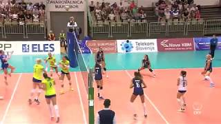 A thunderous spike by Slovenia's middle blocker Sasa Planinsec during home match with Israel