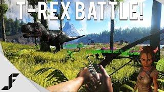 T-Rex Battle! - Ark Survival Evolved Gameplay Episode 5
