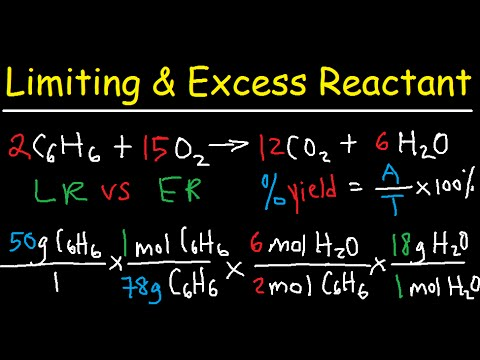 Excess Reactant Stoichiometry, Left Over, Limiting Reactant, Theoretical & Percent Yield Practice
