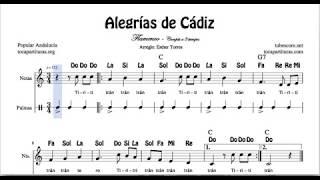 Alegrías de Cádiz Partitura con Notas y Acordes Ti ri ti tran tran Estribillo con Palmas en tres t