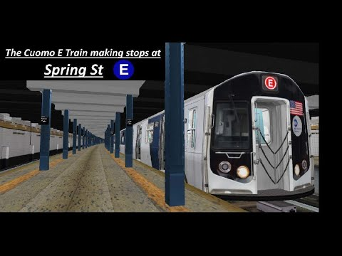 OpenBVE Exclusive : R160 Cuomo E Train Making Stop At Spring St