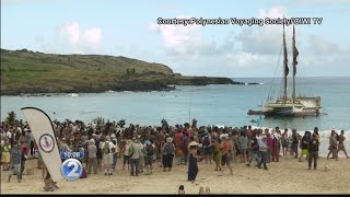 Traditional landing ceremony warmly welcomes Hokulea to Rapa Nui