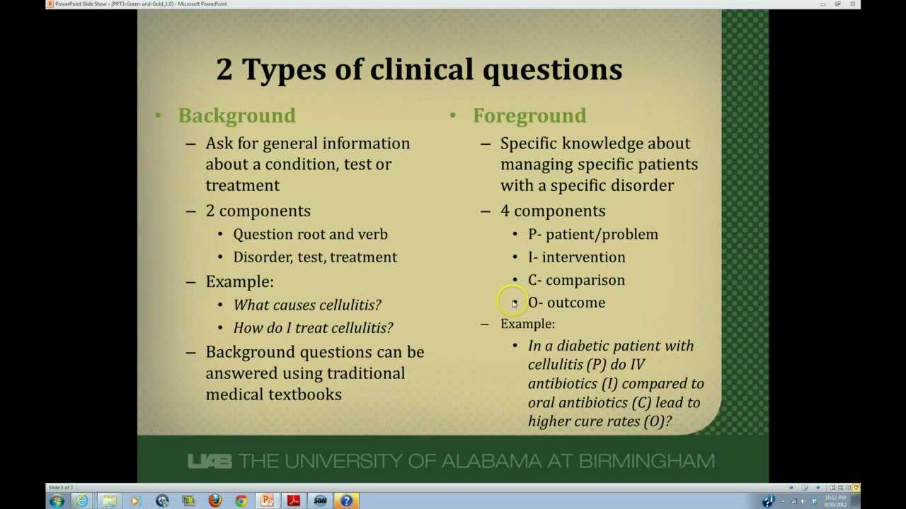 Developing Answerable Clinical Questions YouTube