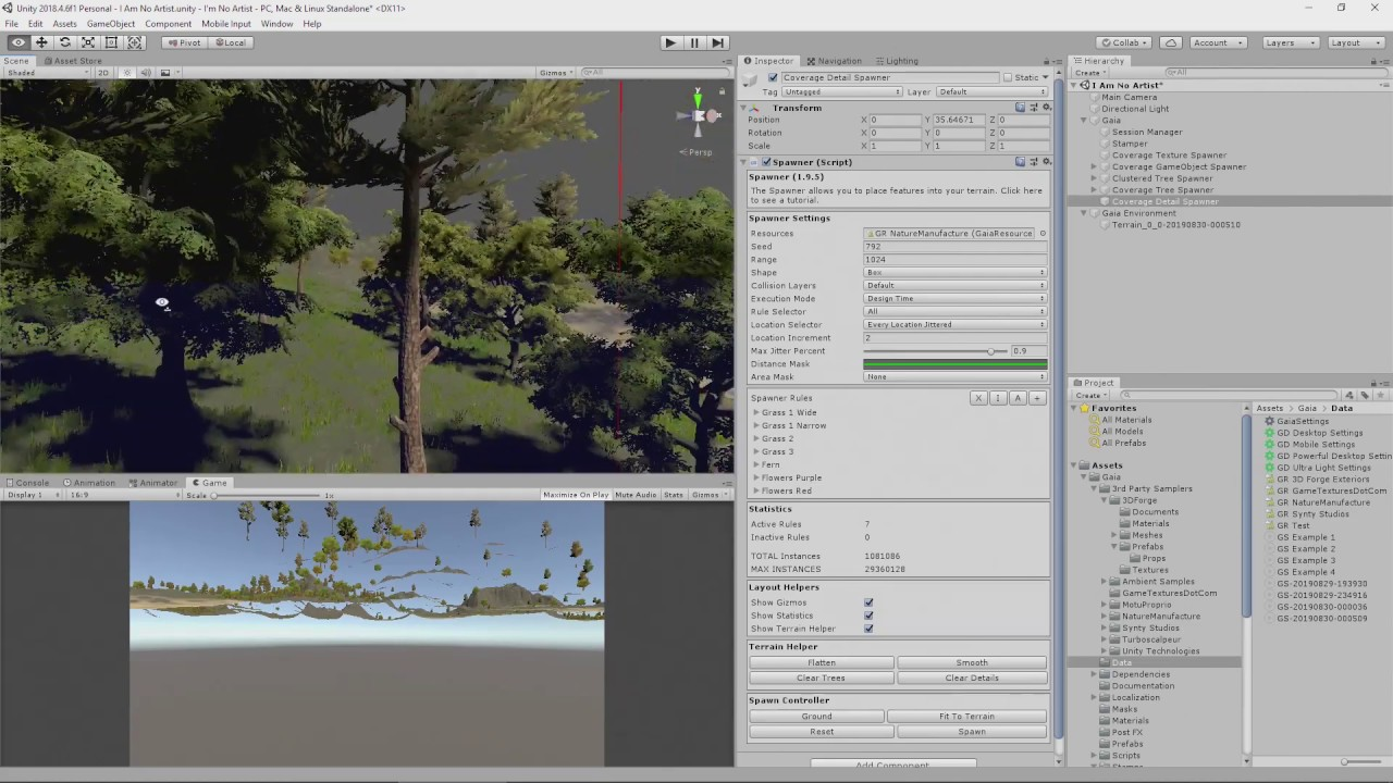Adding Trees and Grass to a Unity Terrain with Gaia