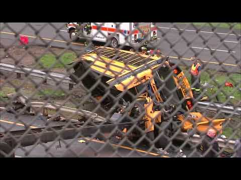 Life-threatening injuries after school bus collides with dump truck in New Jersey