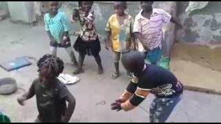 Happy kids dancing on let
