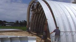 Construction of a Steel Arch Building at Campbell Field Airport.