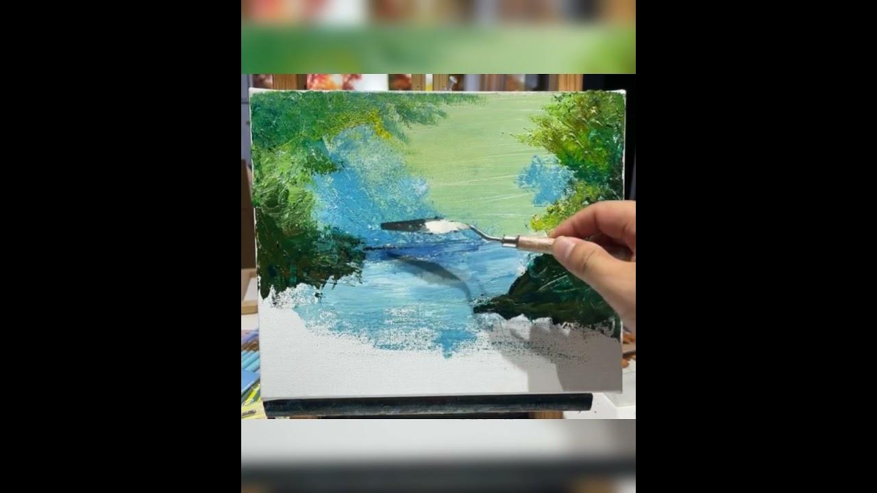 easy  nature drawing painting | acrylic painting  | nature  drawing #shorts
